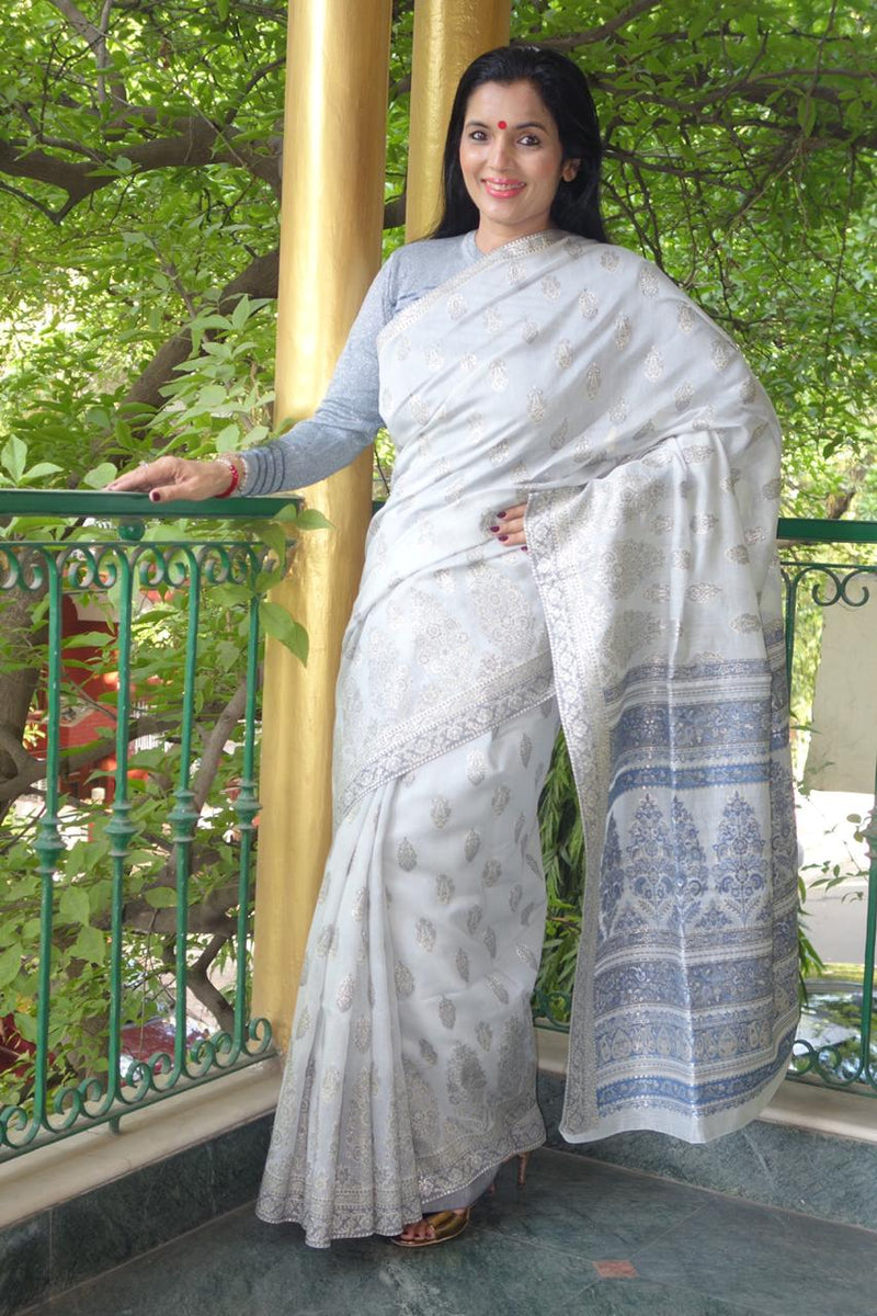 Silver Cotton Kani - Kashmir Collection - Sohum Sutras