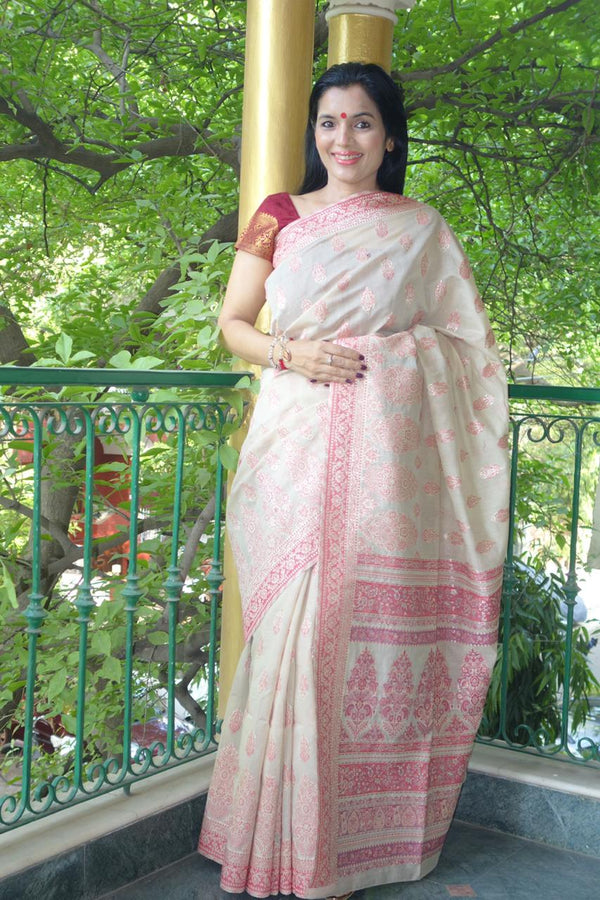 Sandalwood Cotton Kani Saree - Kashmir Collection - sohum sutras