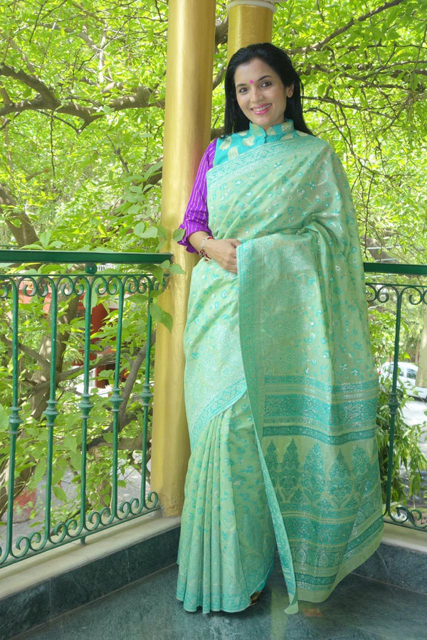 Mint Green Kani Saree - Kashmir Collection - sohumsutras