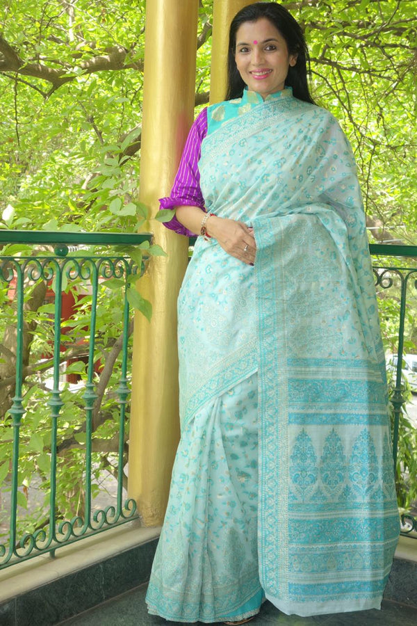 Baby Blue Cotton Kani Saree - Kashmir Collection - sohum sutras