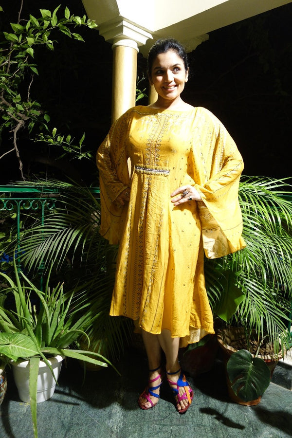 Yellow Silk Cotton Dress