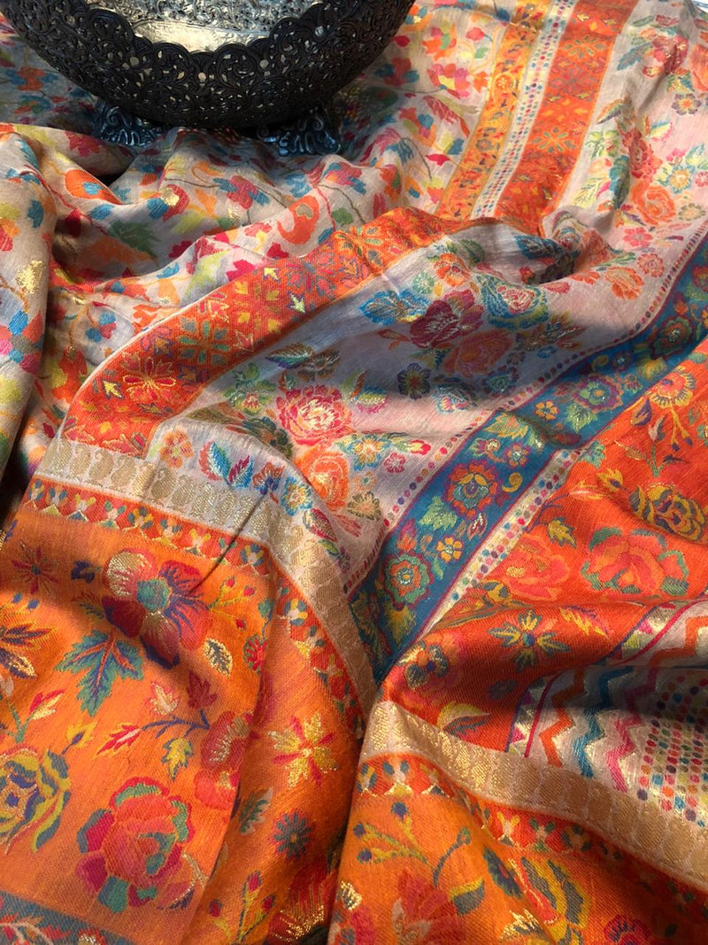 Orange and Beige Kani saree