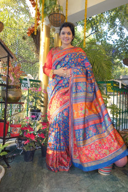 Gulabdar Blue Kani Saree