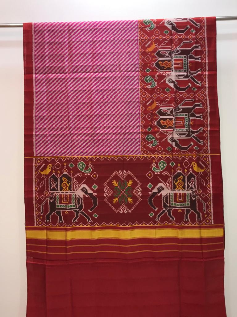 Leheriya Semi Patola saree with elephant border