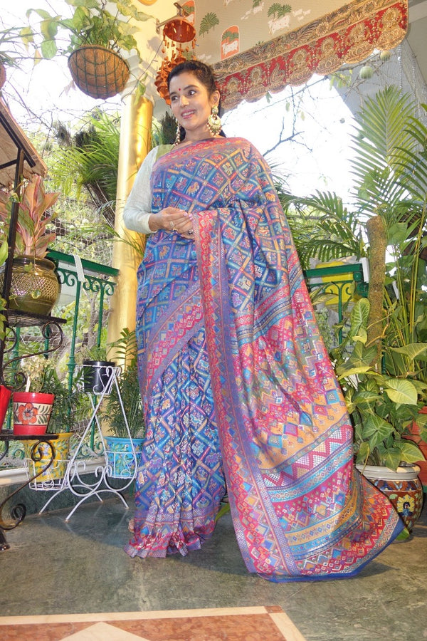 Blue Patola Kani saree