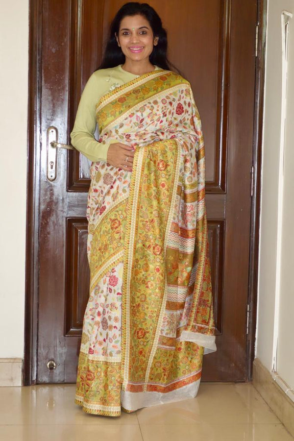 Olive Green Kani Saree - Kashmir Collection - sohum sutras