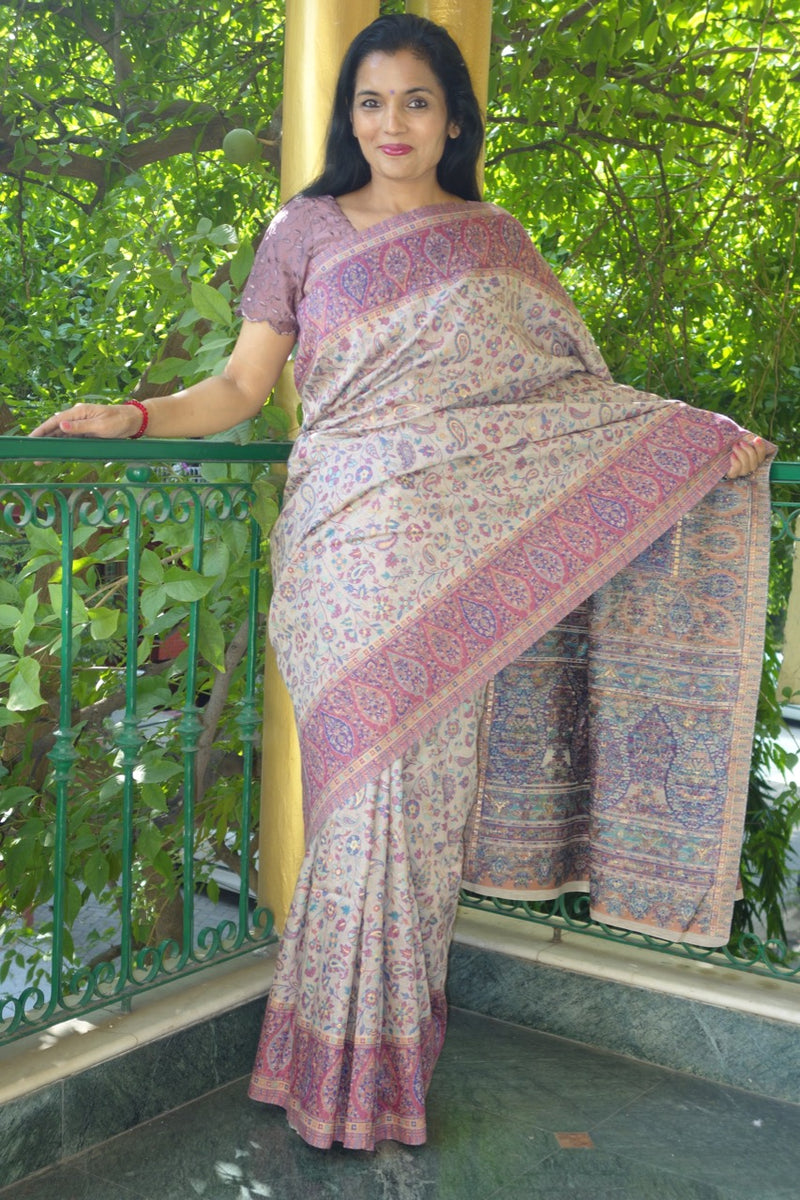 Mauve Kani saree with narrow border - Kashmir Collection - Sohum Sutras