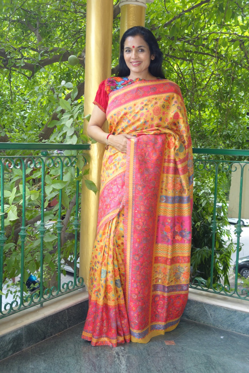 Yellow floral Kani saree - Kashmir Collection - Sohum Sutras