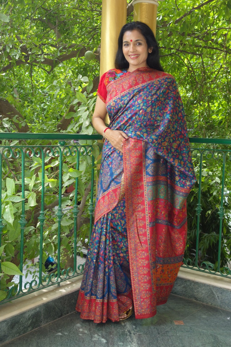 Royal Blue Kani Saree with narrow border- body flowers, paisley and maple leaf - Kashmir Collection - Sohum Sutras
