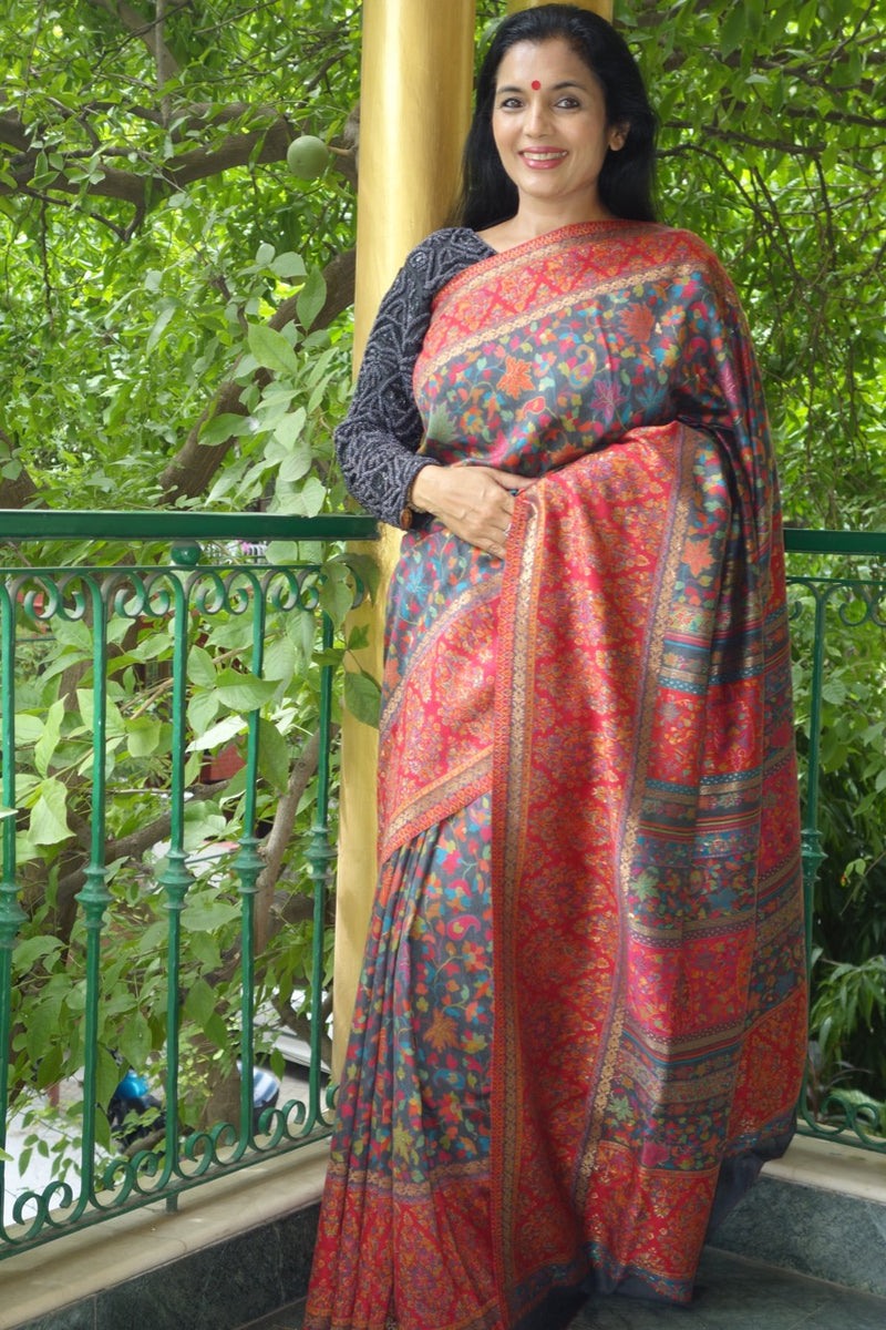 Charcoal Kani Saree with Chinar (Maple Leaves) - Kashmir Collection - Sohum Sutras