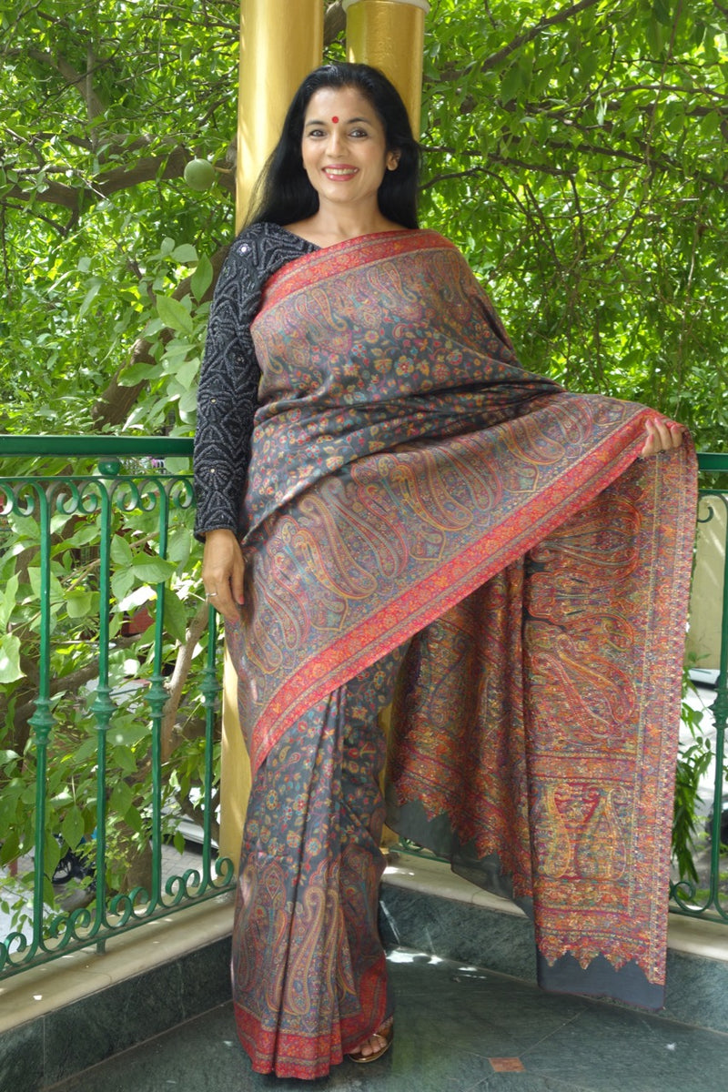Charcoal Kani Saree with paisley border - Kashmir Collection - Sohum Sutras