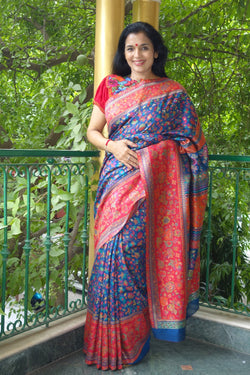 Royal Blue Kani Saree with Broad Red border - Kashmir Collection - Sohum Sutras