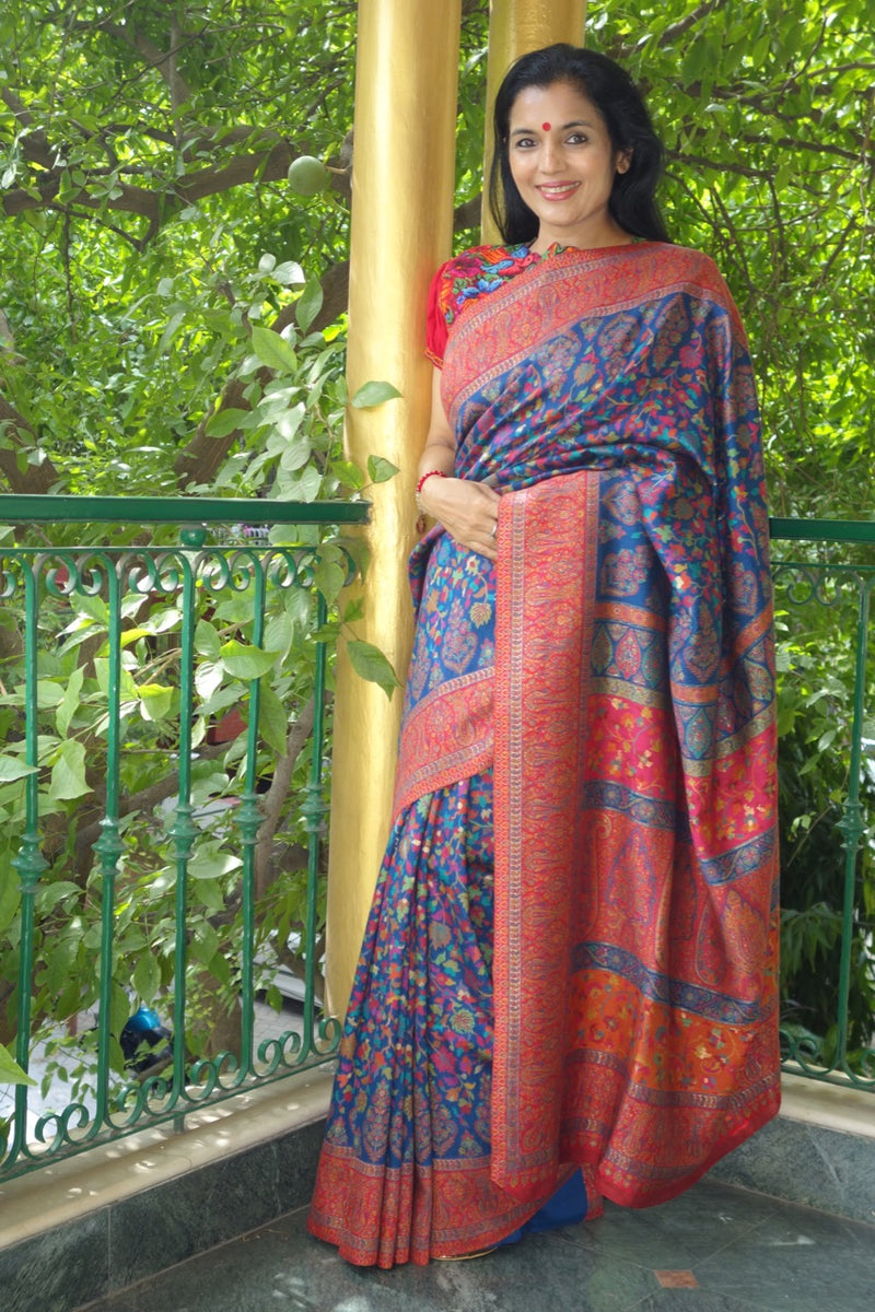 Royal Blue Kani Saree with thin Red Border- Body of maple leaves and flowers - Kashmir Collection - Sohum Sutras