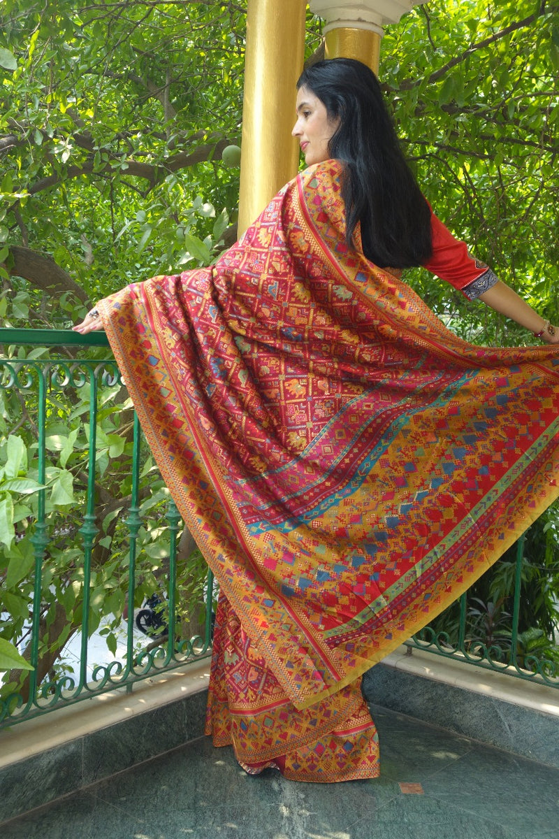 Red Ikat Kani saree - Kashmir Collection - sohum sutras