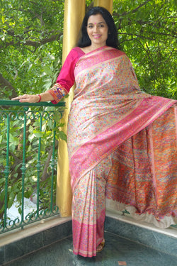 Beige and Pink Kani saree - Kashmir Collection - sohum sutras