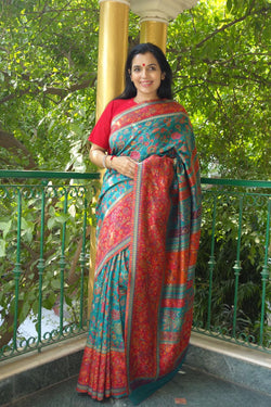 Teal and Red Kani Saree - Kashmir Collection - sohum sutras