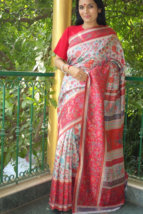 Silver Grey And Red Floral Kani Saree - Kashmir Collection - sohum sutras