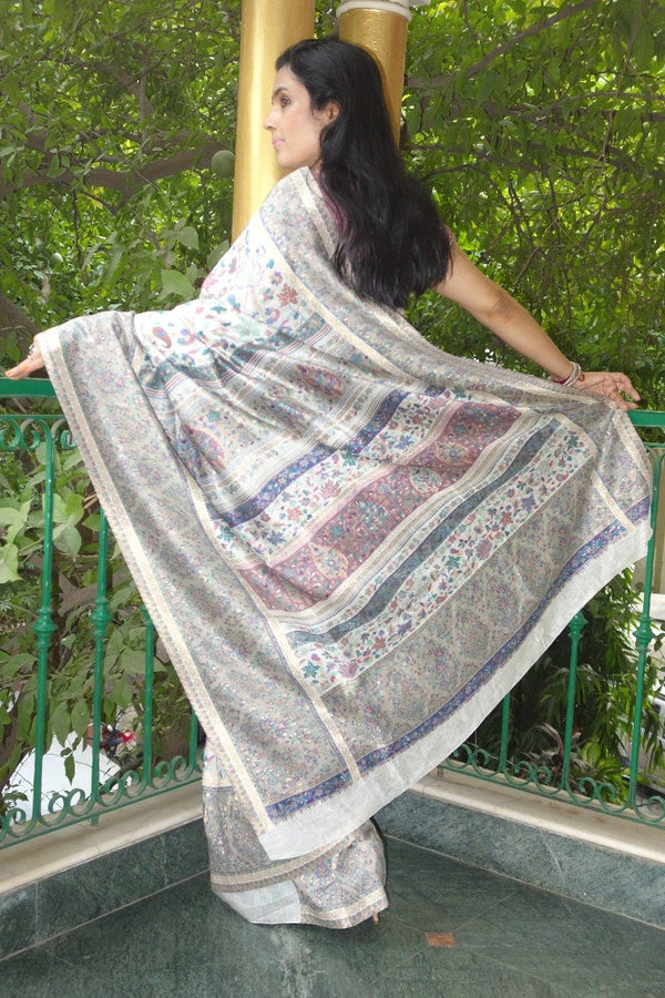 Silvery Grey Kani Saree - Kashmir Collection - sohum sutras