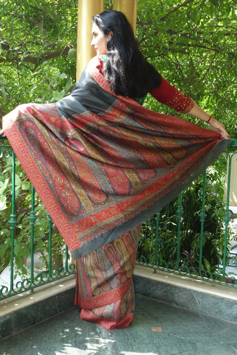 Charcoal Grey Kani Saree - Kashmir Collection - sohum sutras