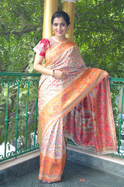 Orange and Beige Kani saree - Kashmir Collection - sohum sutras