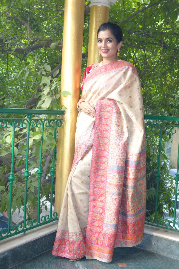 Pure Tussar Kani saree - Kashmir Collection - sohum sutras