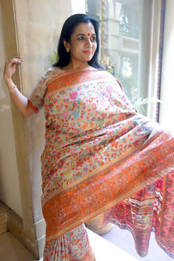 Orange Chinar Kani Saree - Kashmir Collection - sohum sutras