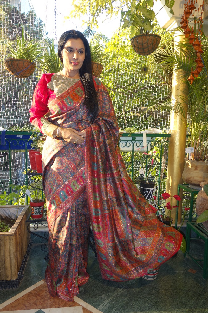 Charcoal Grey Silk Kani Saree