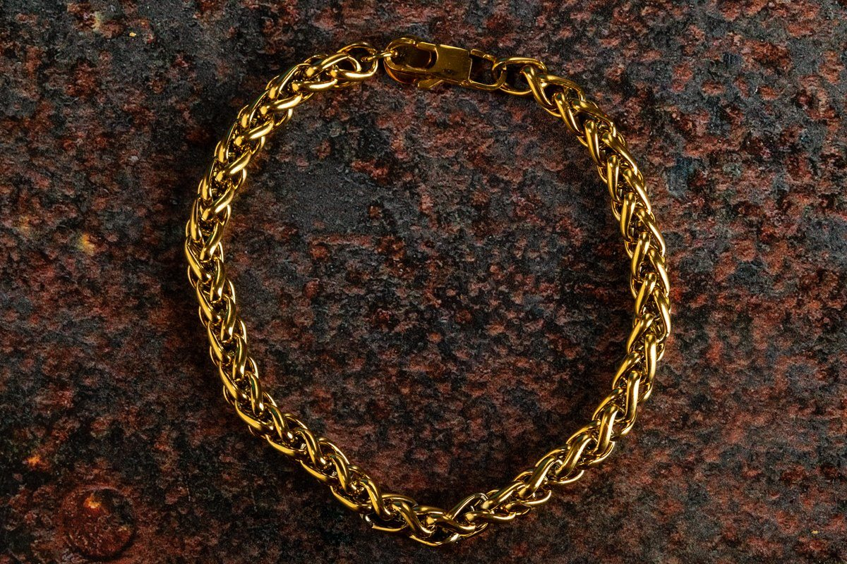 Pendant - Wheat Bracelet (Gold) 6mm