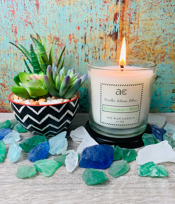 Eucalyptus + Mint Soy Candle - April Etoye