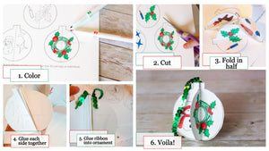 DIY 3D Christmas Coloring Ornaments