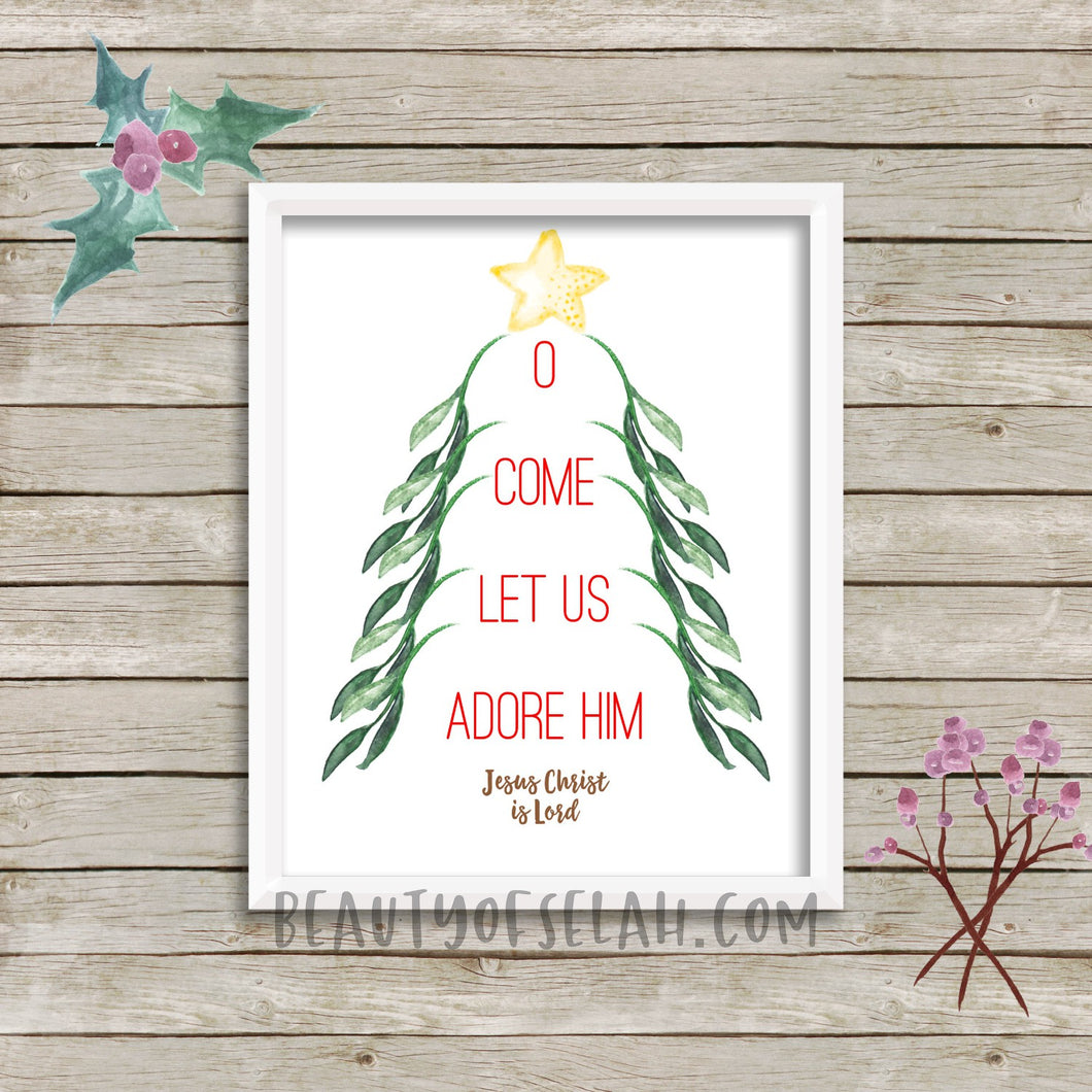 O come let us adore Him Printable