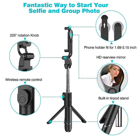 Image of Extendable Selfie Stick Tripod with Detachable Wireless Remote and Tripod Stand