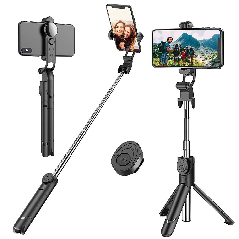 Selfie Stick Tripod,Bluetooth Selfie Tripod with Mirror,Extendable Phone Tripod with Wireless Remote Phone Holder Compatible with iPhone X//iPhone 8//8 Plus//7//7 Plus Galaxy S9//S8//Note 8 and More