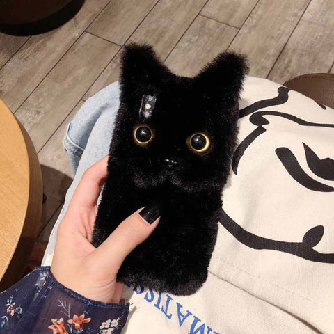 3D Black Cat Plush Fur Phone Case