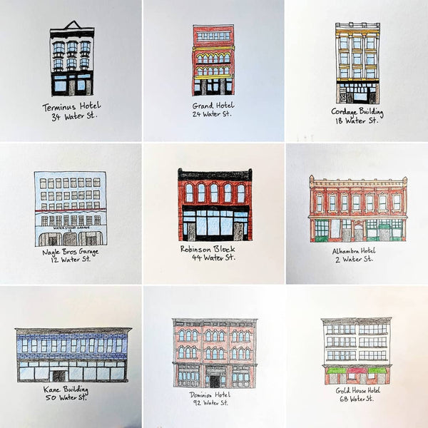 Illustrations of Gastown buildings