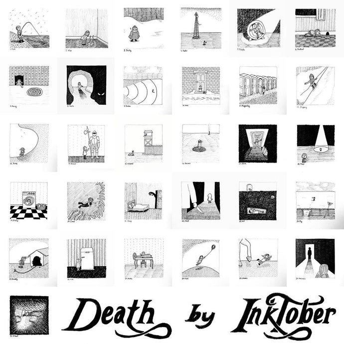 Death by Inktober (Gorey-inspired drawings for 2020)