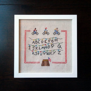 Stranger Things cross stitch sampler pattern