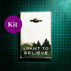 X Files I Want To Believe cross stitch kit