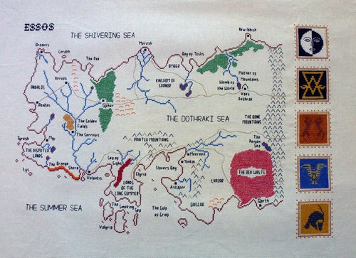 Game of Thrones cross stitch pattern Essos map