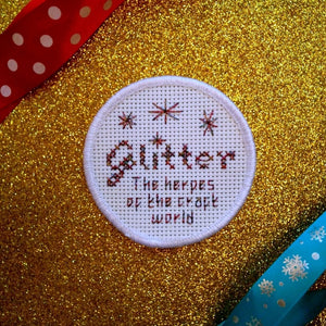 Glitter: the herpes of the craft world - DIY cross stitch patch kit