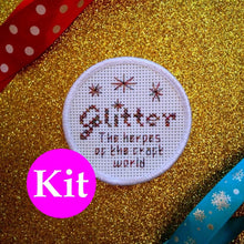 Load image into Gallery viewer, Glitter: the herpes of the craft world - DIY cross stitch patch kit