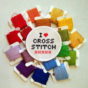 I Love Cross Stitch patch kit - DIY stitchable patch