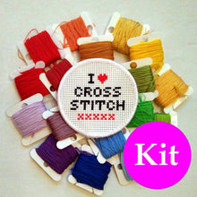 Load image into Gallery viewer, I Love Cross Stitch patch kit - DIY stitchable patch