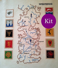 Load image into Gallery viewer, Game of Thrones Map of Westeros cross stitch kit with pattern, thread and fabric