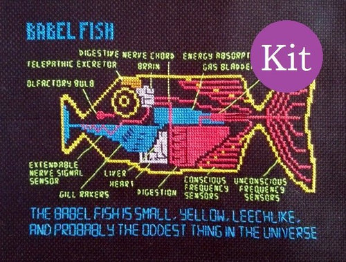 Babel Fish cross stitch kit (Hitchhiker's Guide to the Galaxy) with pattern, thread and fabric