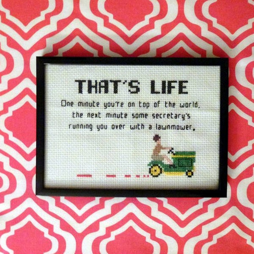 Mad Men cross stitch pattern lawnmower quote