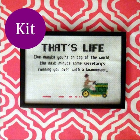 Mad Men cross stitch kit lawnmower quote