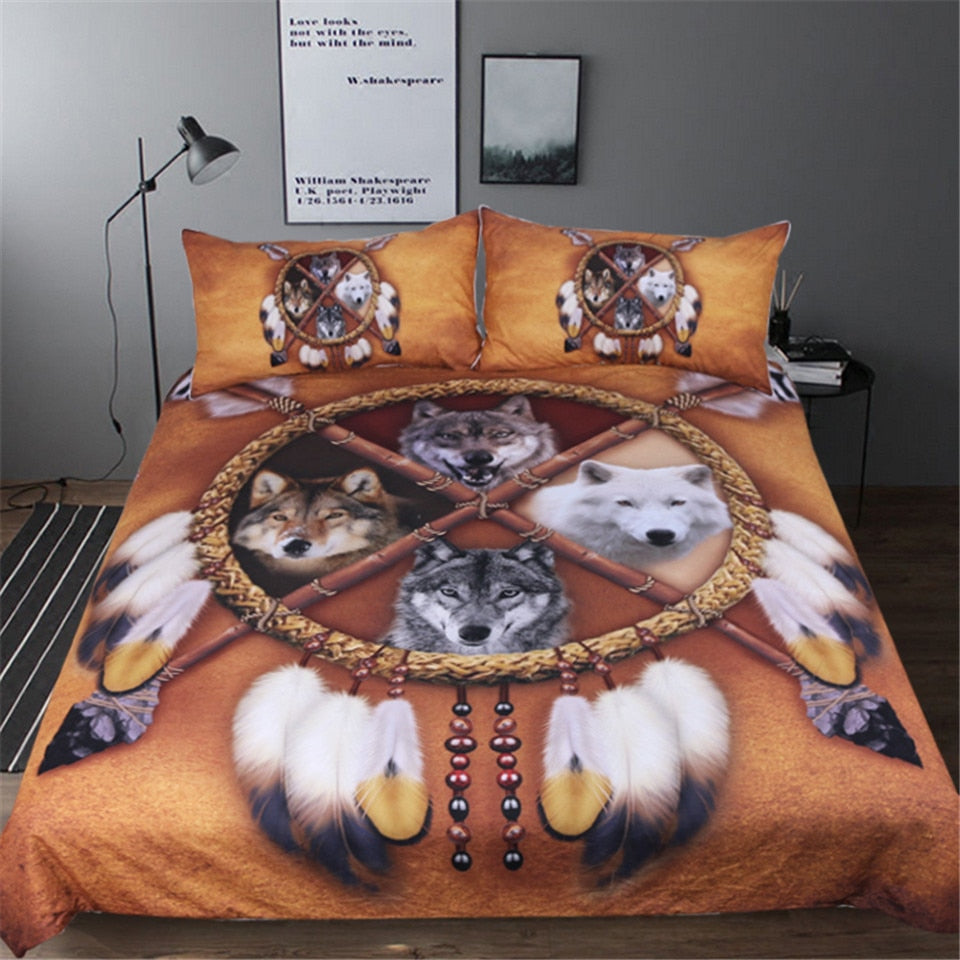 Native American Bedding Sets.4 Wolves Dreamcatcher Native American Bedding Set