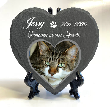 Personalised Heart Slate Stone Pet Memorial 10x10 cm