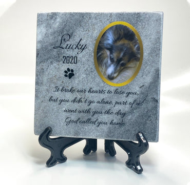 Personalised marble stone pet memorial 10x10 cm